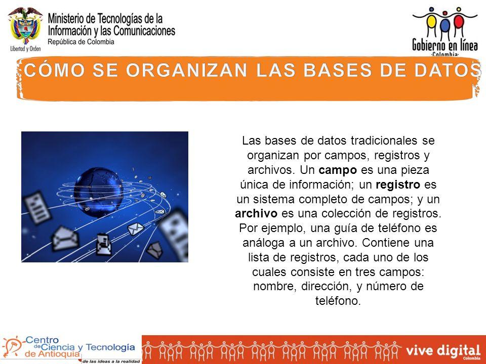 Las bases de datos tradicionales se organizan por campos, registros y archivos.