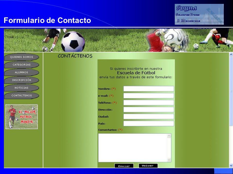 Objetivos Formulario de Contacto