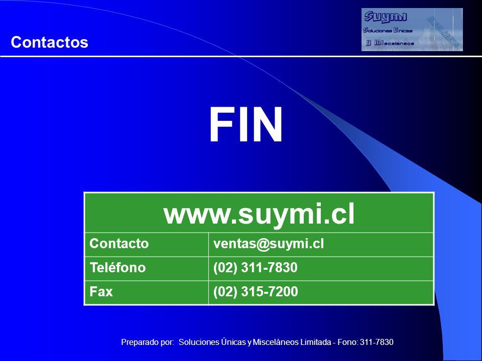 FIN Preparado por: Soluciones Únicas y Misceláneos Limitada - Fono: 311-7830 www.suymi.cl Contactoventas@suymi.cl Teléfono(02) 311-7830 Fax(02) 315-7200 Contactos