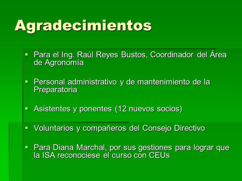 Agradecimientos Para el Ing.Raúl Reyes Bustos, Coordinador del Área de Agronomía Para el Ing.
