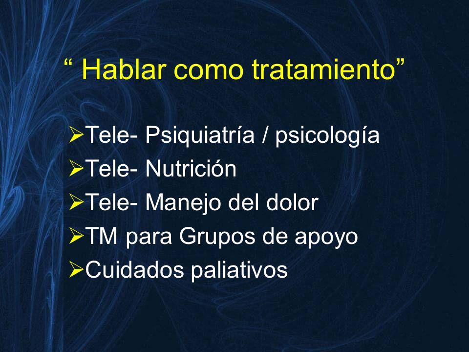 Hablar como tratamiento Tele- Psiquiatría / psicología Tele- Nutrición Tele- Manejo del dolor TM para Grupos de apoyo Cuidados paliativos