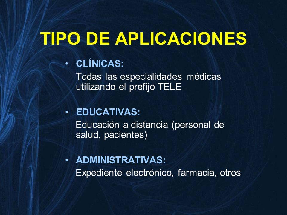 TIPO DE APLICACIONES CLĺNICAS: Todas las especialidades médicas utilizando el prefijo TELE EDUCATIVAS: Educación a distancia (personal de salud, pacie