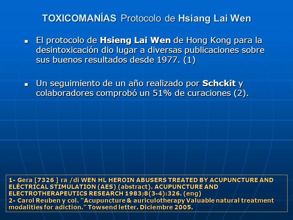 TOXICOMANÍAS Protocolo de Hsiang Lai Wen El protocolo de Hsieng Lai Wen de Hong Kong para la desintoxicación dio lugar a diversas publicaciones sobre