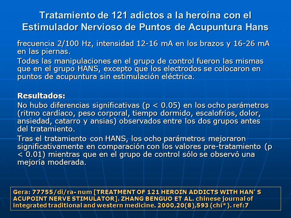 Tratamiento de 121 adictos a la heroína con el Estimulador Nervioso de Puntos de Acupuntura Hans frecuencia 2/100 Hz, intensidad 12-16 mA en los brazo