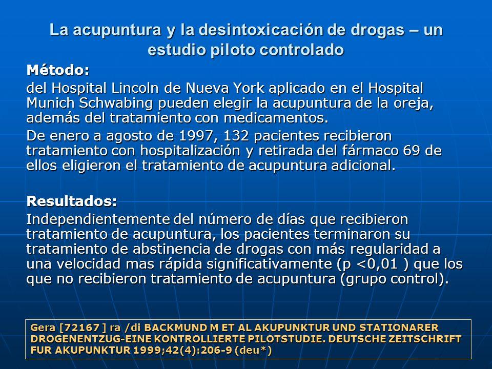 La acupuntura y la desintoxicación de drogas – un estudio piloto controlado Método: del Hospital Lincoln de Nueva York aplicado en el Hospital Munich