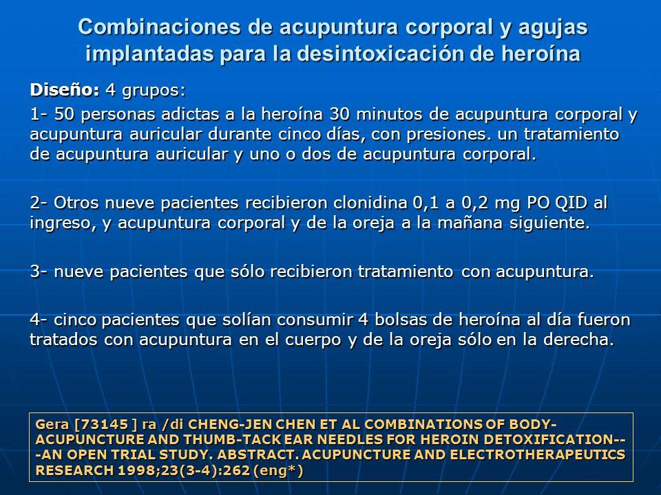 Combinaciones de acupuntura corporal y agujas implantadas para la desintoxicación de heroína Diseño: 4 grupos: 1- 50 personas adictas a la heroína 30