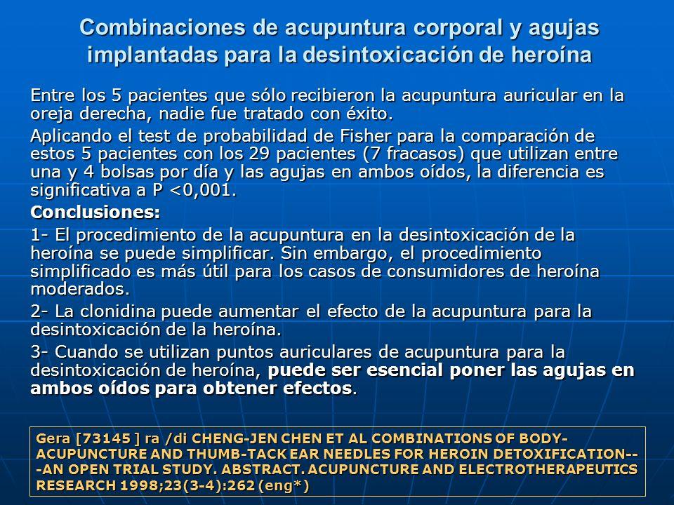Combinaciones de acupuntura corporal y agujas implantadas para la desintoxicación de heroína Entre los 5 pacientes que sólo recibieron la acupuntura a