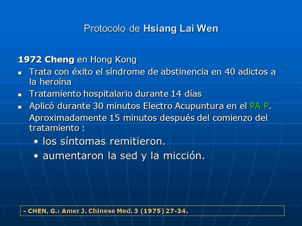 Protocolo de Hsiang Lai Wen 1972 Cheng en Hong Kong Trata con éxito el síndrome de abstinencia en 40 adictos a la heroína Trata con éxito el síndrome