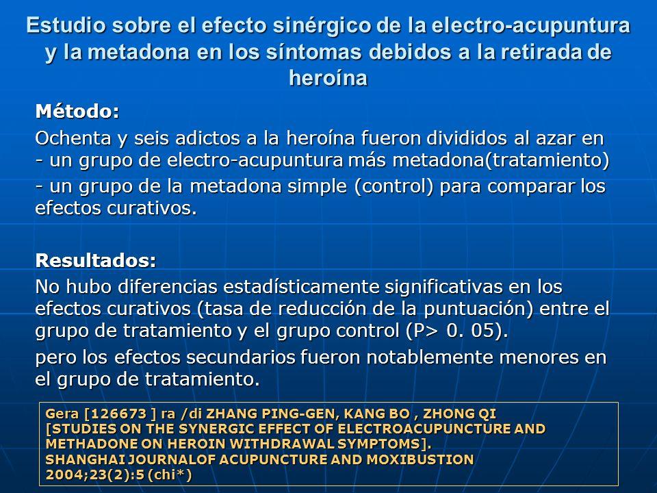 Estudio sobre el efecto sinérgico de la electro-acupuntura y la metadona en los síntomas debidos a la retirada de heroína Método: Ochenta y seis adict