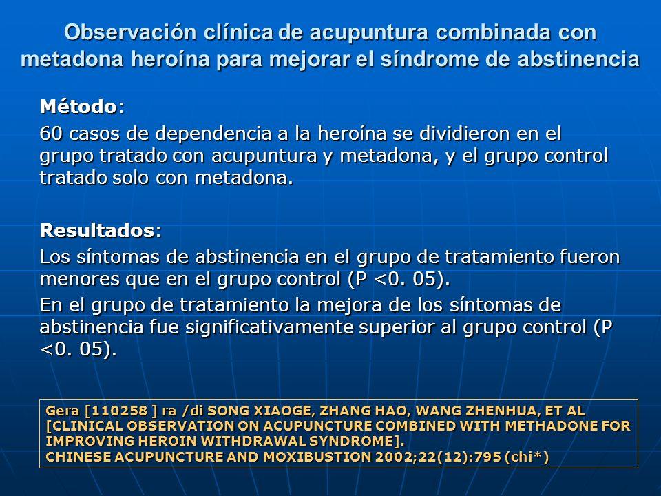 Observación clínica de acupuntura combinada con metadona heroína para mejorar el síndrome de abstinencia Método: 60 casos de dependencia a la heroína