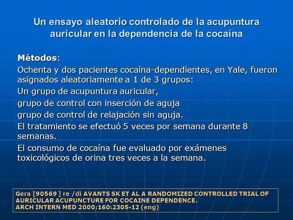 Un ensayo aleatorio controlado de la acupuntura auricular en la dependencia de la cocaína Métodos: Ochenta y dos pacientes cocaína-dependientes, en Ya
