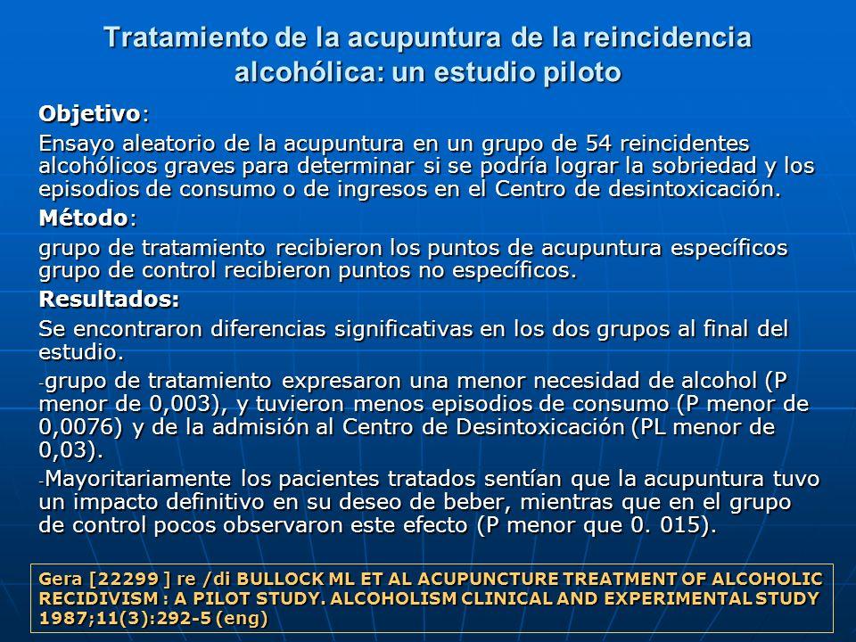 Tratamiento de la acupuntura de la reincidencia alcohólica: un estudio piloto Objetivo: Ensayo aleatorio de la acupuntura en un grupo de 54 reincident
