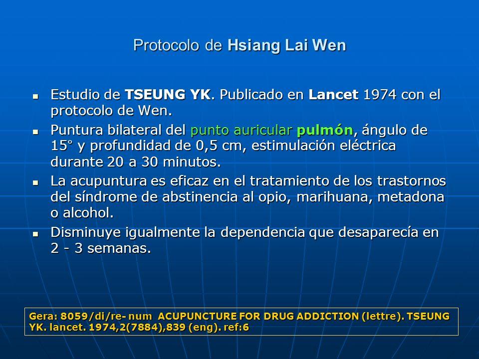 Protocolo de Hsiang Lai Wen Estudio de TSEUNG YK. Publicado en Lancet 1974 con el protocolo de Wen. Estudio de TSEUNG YK. Publicado en Lancet 1974 con