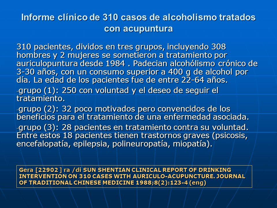 Informe clínico de 310 casos de alcoholismo tratados con acupuntura 310 pacientes, dividos en tres grupos, incluyendo 308 hombres y 2 mujeres se somet