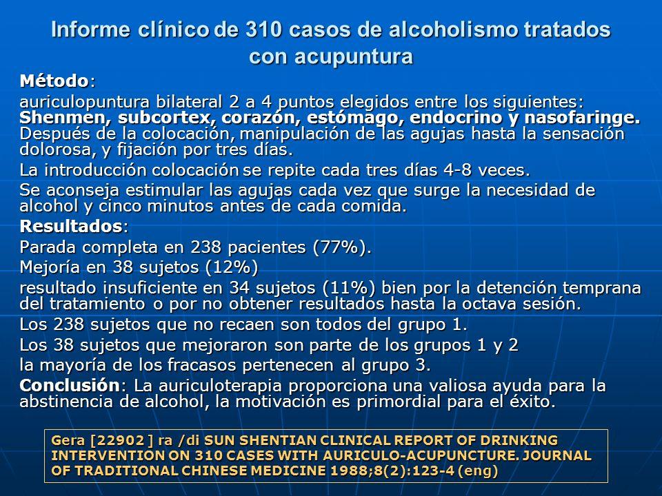 Informe clínico de 310 casos de alcoholismo tratados con acupuntura Método: auriculopuntura bilateral 2 a 4 puntos elegidos entre los siguientes: Shen