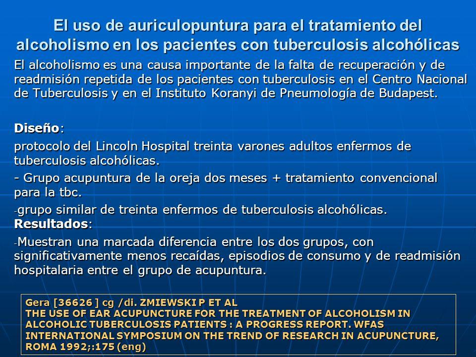 El uso de auriculopuntura para el tratamiento del alcoholismo en los pacientes con tuberculosis alcohólicas El alcoholismo es una causa importante de