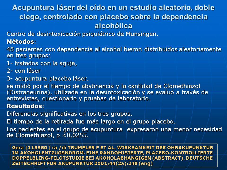 Acupuntura láser del oído en un estudio aleatorio, doble ciego, controlado con placebo sobre la dependencia alcohólica Centro de desintoxicación psiqu