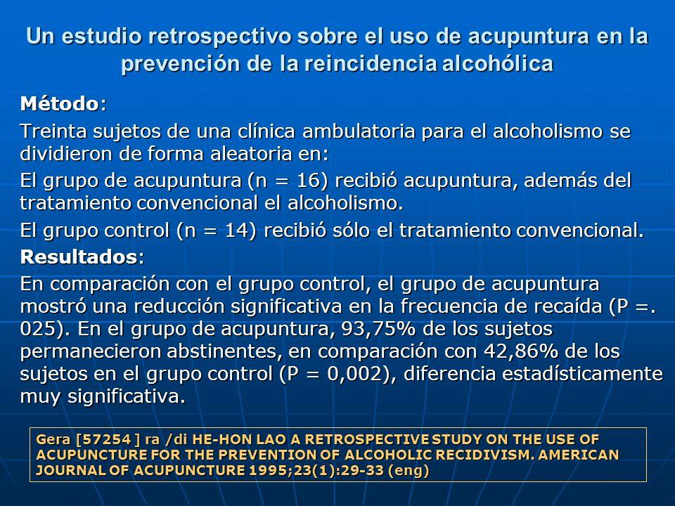 Un estudio retrospectivo sobre el uso de acupuntura en la prevención de la reincidencia alcohólica Método: Treinta sujetos de una clínica ambulatoria