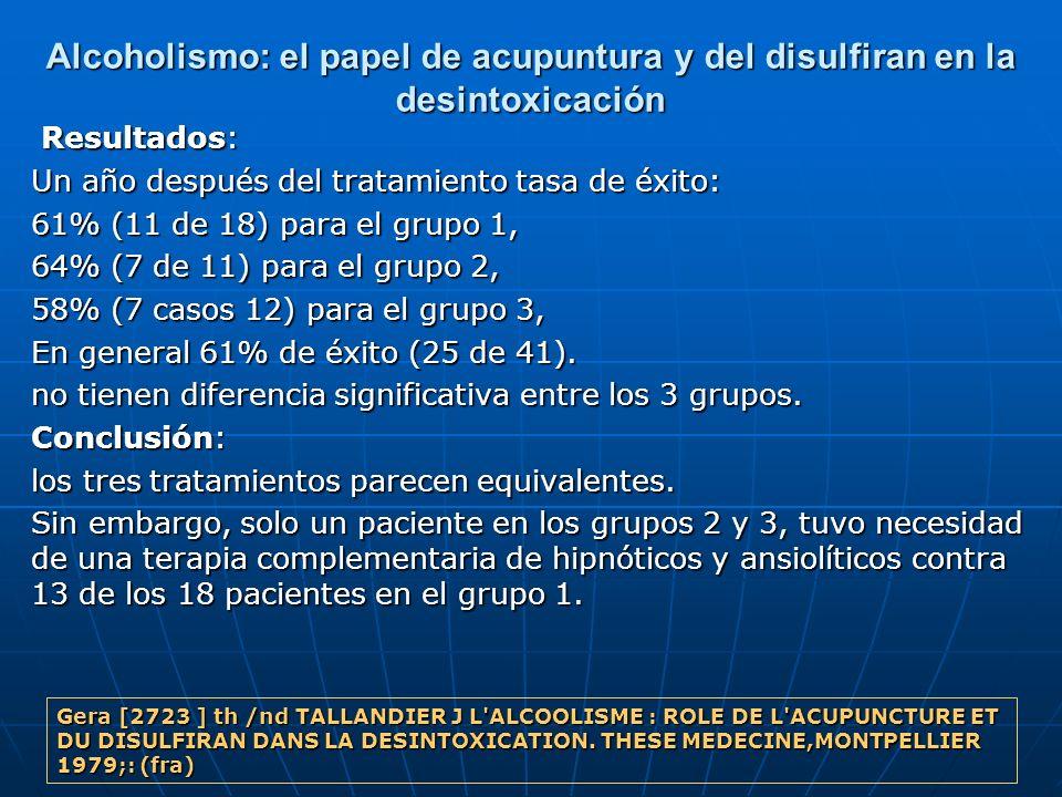 Alcoholismo: el papel de acupuntura y del disulfiran en la desintoxicación Resultados: Resultados: Un año después del tratamiento tasa de éxito: 61% (