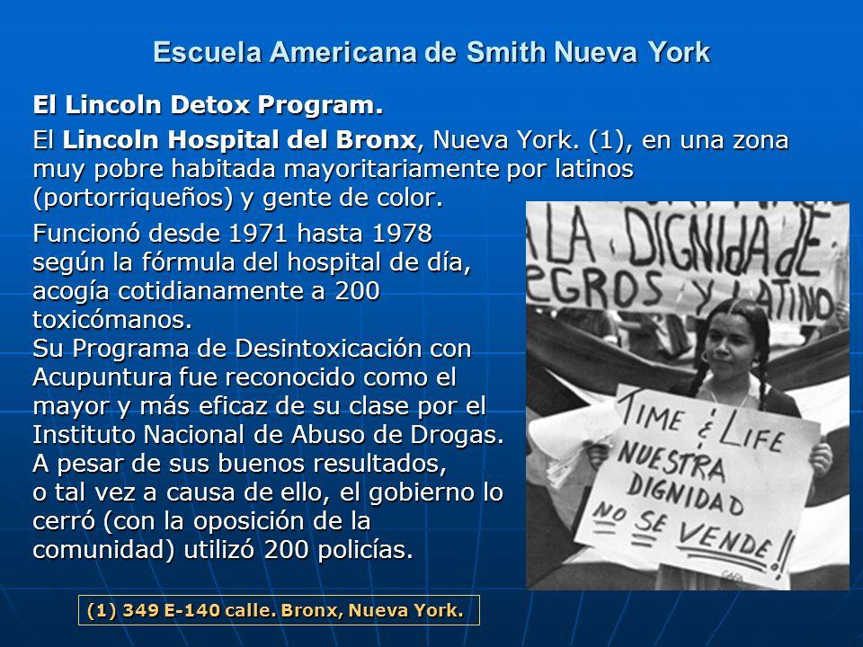 Escuela Americana de Smith Nueva York El Lincoln Detox Program. El Lincoln Hospital del Bronx, Nueva York. (1), en una zona muy pobre habitada mayorit