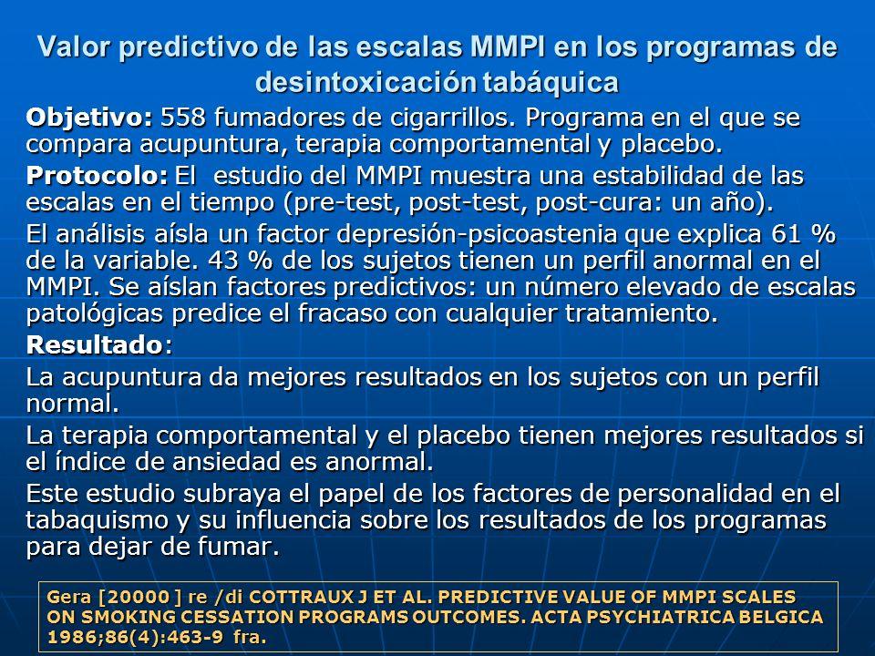 Valor predictivo de las escalas MMPI en los programas de desintoxicación tabáquica Objetivo: 558 fumadores de cigarrillos. Programa en el que se compa