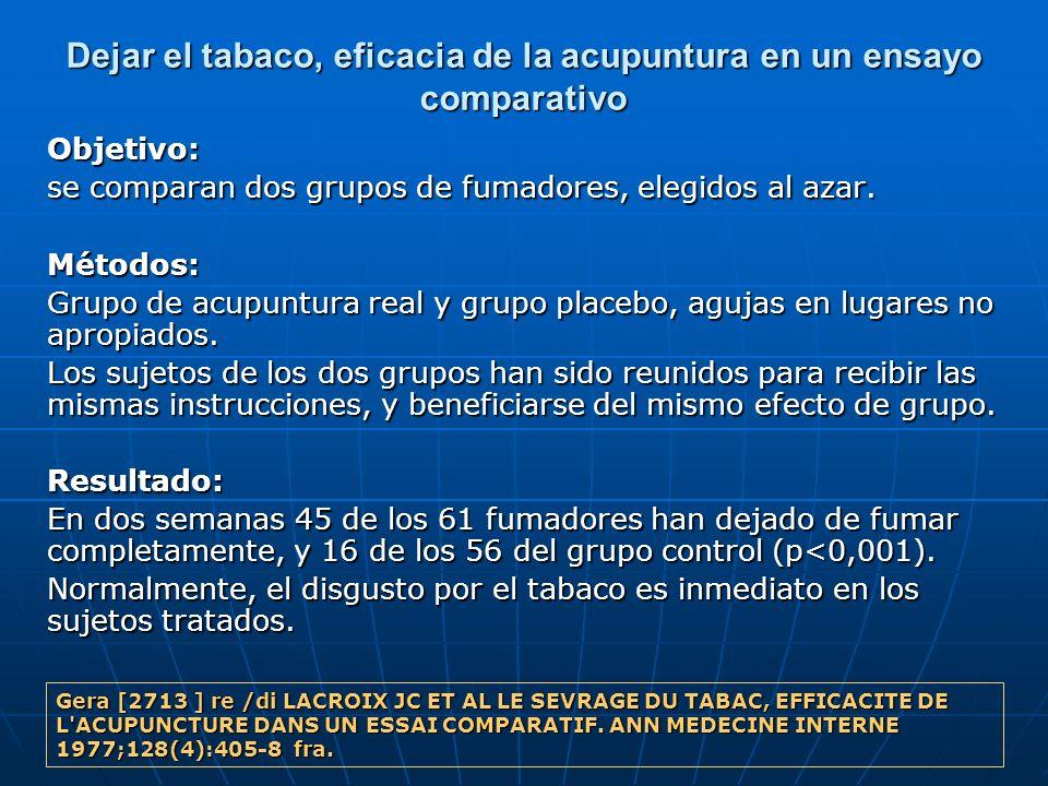 Dejar el tabaco, eficacia de la acupuntura en un ensayo comparativo Objetivo: se comparan dos grupos de fumadores, elegidos al azar. Métodos: Grupo de
