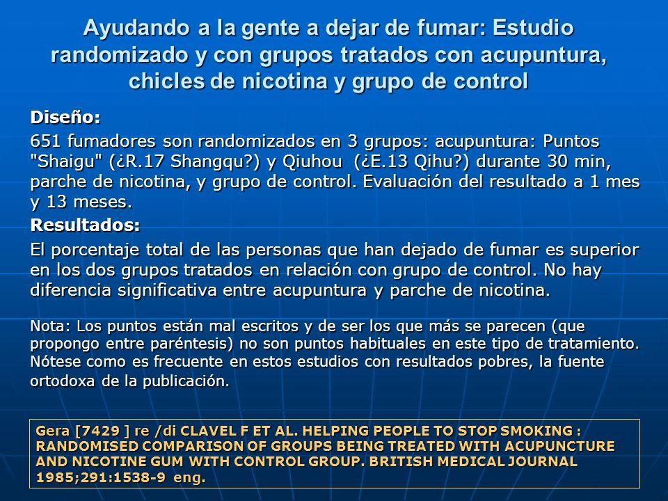 Ayudando a la gente a dejar de fumar: Estudio randomizado y con grupos tratados con acupuntura, chicles de nicotina y grupo de control Diseño: 651 fum