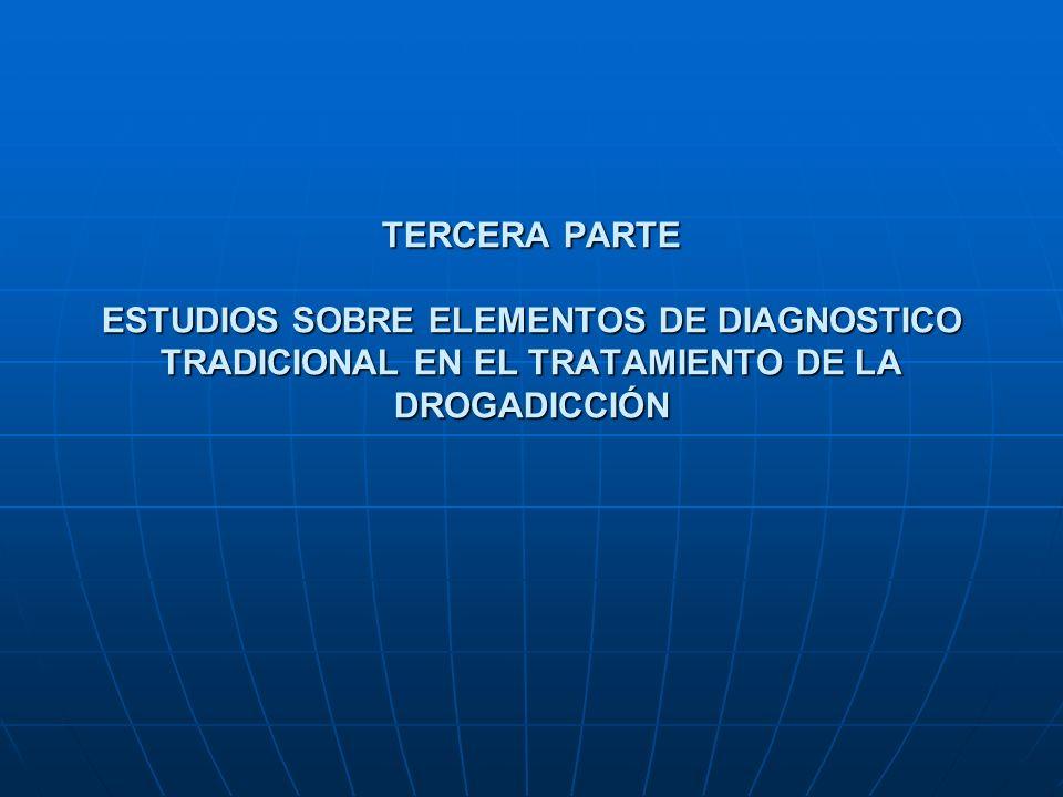 TERCERA PARTE ESTUDIOS SOBRE ELEMENTOS DE DIAGNOSTICO TRADICIONAL EN EL TRATAMIENTO DE LA DROGADICCIÓN