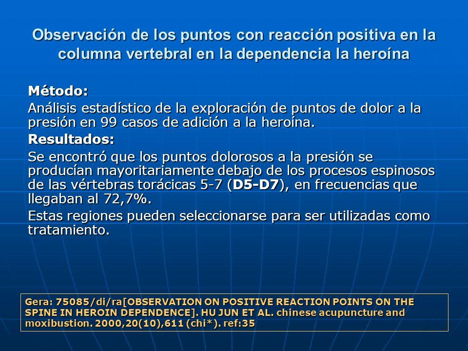 Observación de los puntos con reacción positiva en la columna vertebral en la dependencia la heroína Método: Análisis estadístico de la exploración de