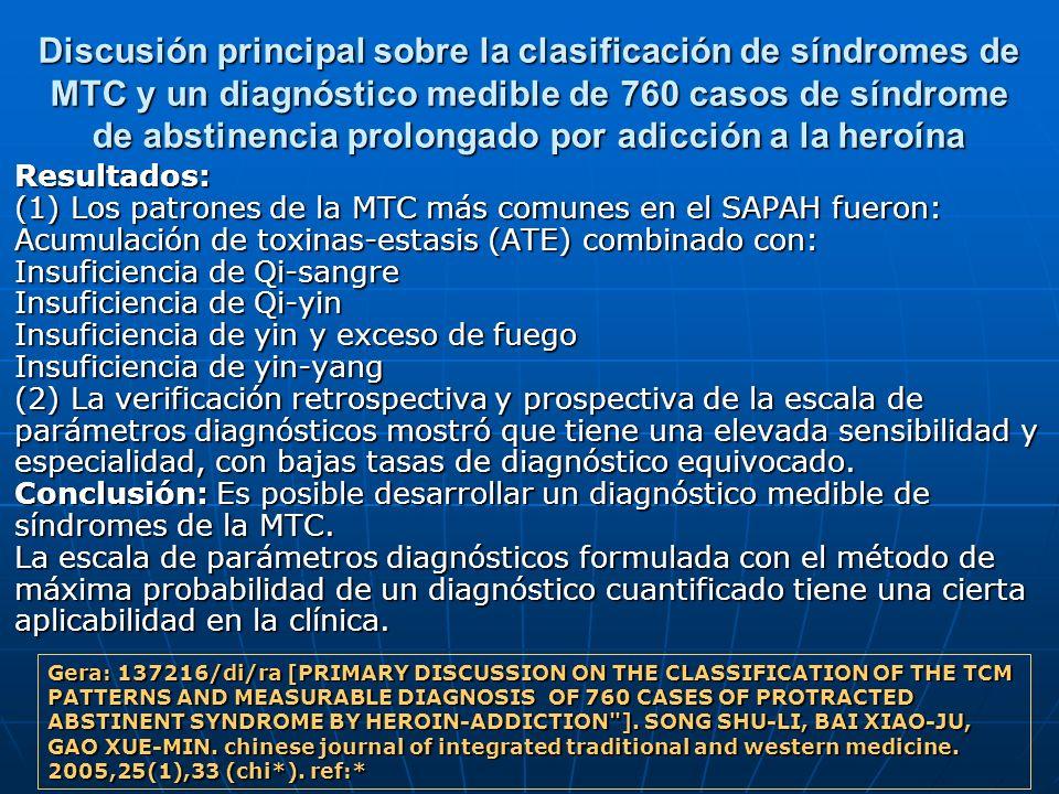 Discusión principal sobre la clasificación de síndromes de MTC y un diagnóstico medible de 760 casos de síndrome de abstinencia prolongado por adicció
