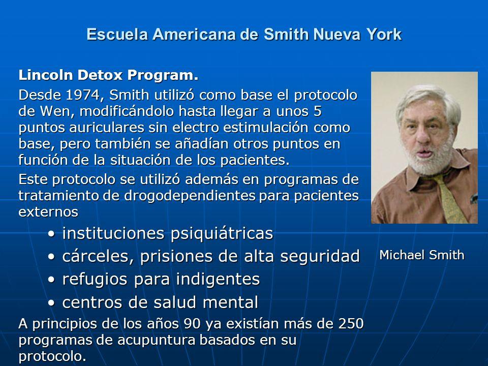 Escuela Americana de Smith Nueva York Lincoln Detox Program. Desde 1974, Smith utilizó como base el protocolo de Wen, modificándolo hasta llegar a uno