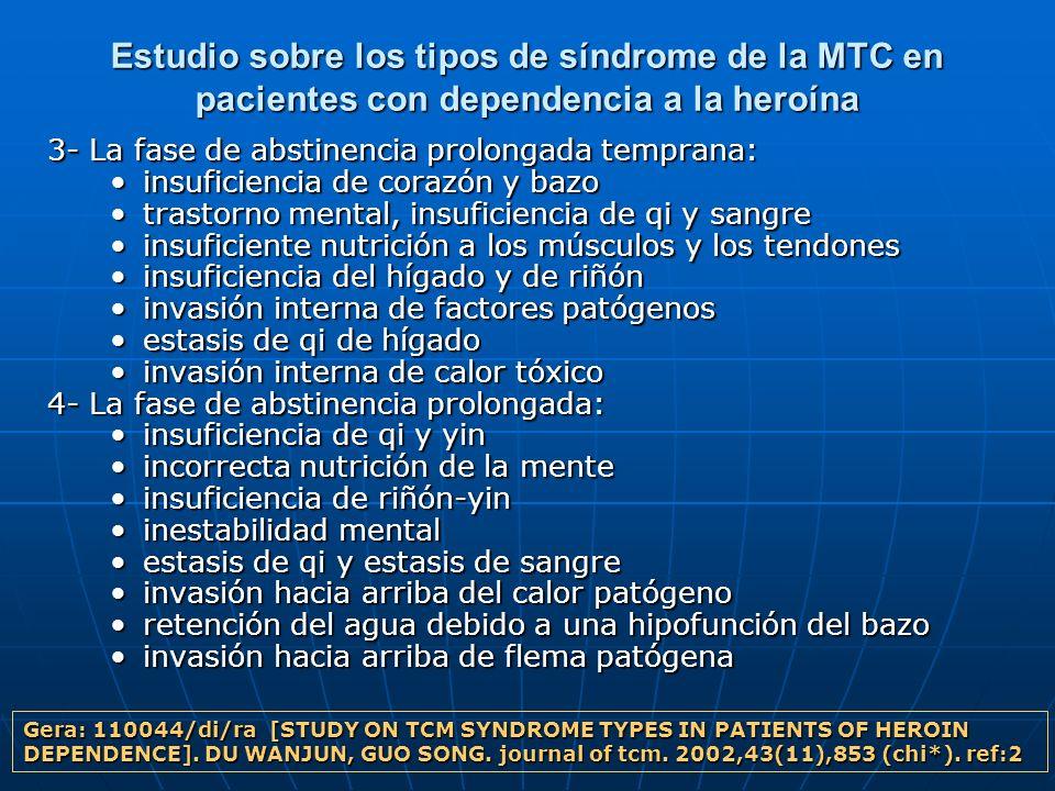 Estudio sobre los tipos de síndrome de la MTC en pacientes con dependencia a la heroína 3- La fase de abstinencia prolongada temprana: insuficiencia d