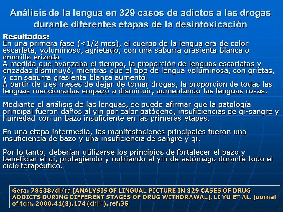 Análisis de la lengua en 329 casos de adictos a las drogas durante diferentes etapas de la desintoxicación Resultados: En una primera fase (<1/2 mes),