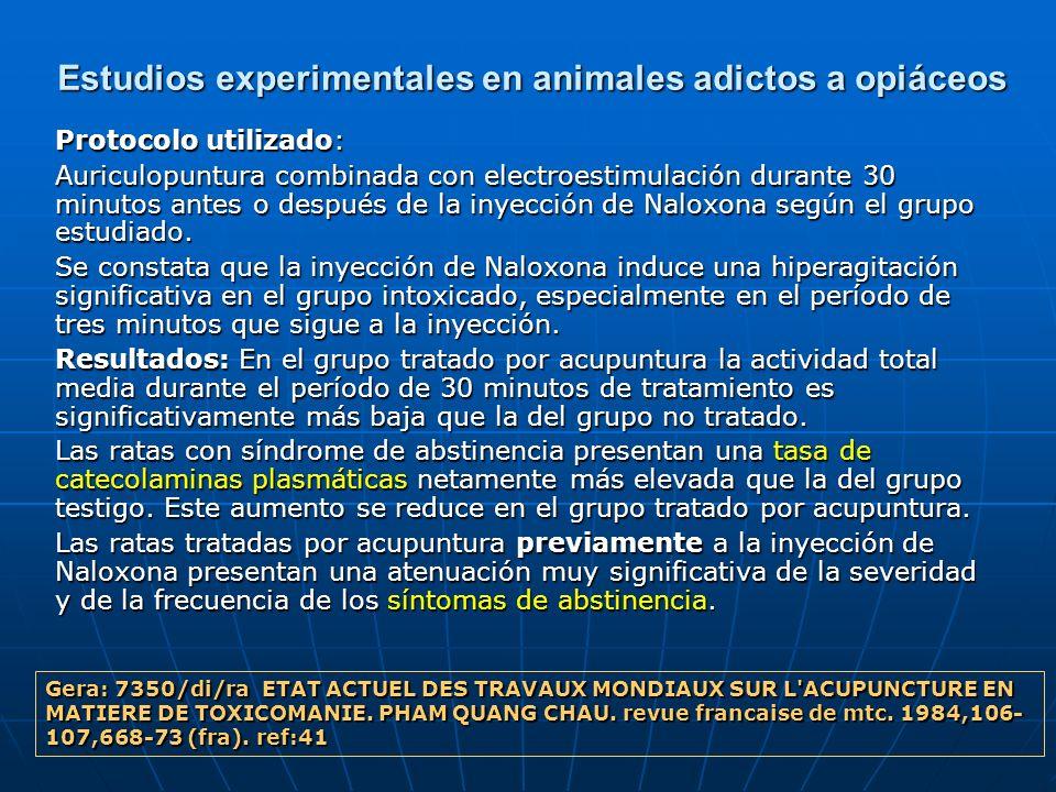 Estudios experimentales en animales adictos a opiáceos Protocolo utilizado: Auriculopuntura combinada con electroestimulación durante 30 minutos antes
