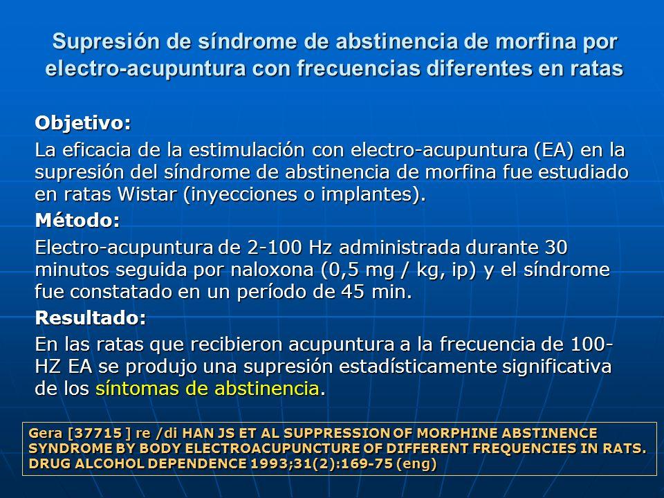 Supresión de síndrome de abstinencia de morfina por electro-acupuntura con frecuencias diferentes en ratas Objetivo: La eficacia de la estimulación co
