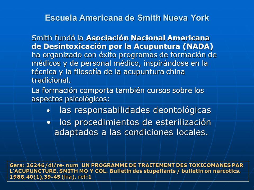 Escuela Americana de Smith Nueva York Smith fundó la Asociación Nacional Americana de Desintoxicación por la Acupuntura (NADA) ha organizado con éxito