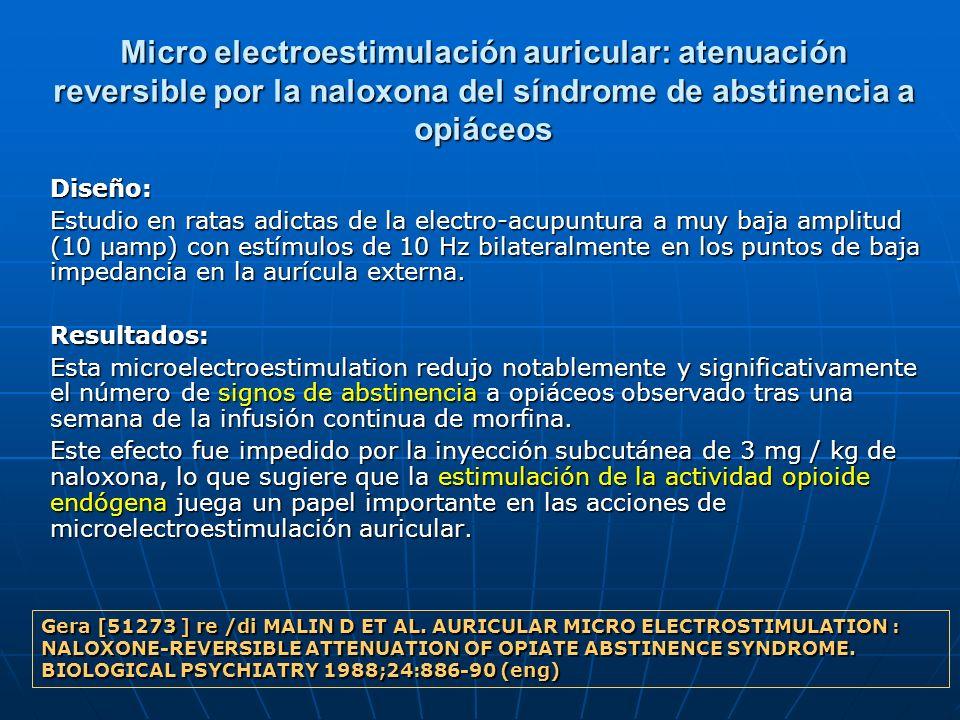 Micro electroestimulación auricular: atenuación reversible por la naloxona del síndrome de abstinencia a opiáceos Diseño: Estudio en ratas adictas de