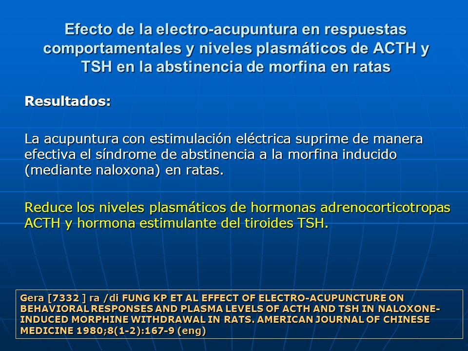 Efecto de la electro-acupuntura en respuestas comportamentales y niveles plasmáticos de ACTH y TSH en la abstinencia de morfina en ratas Resultados: L