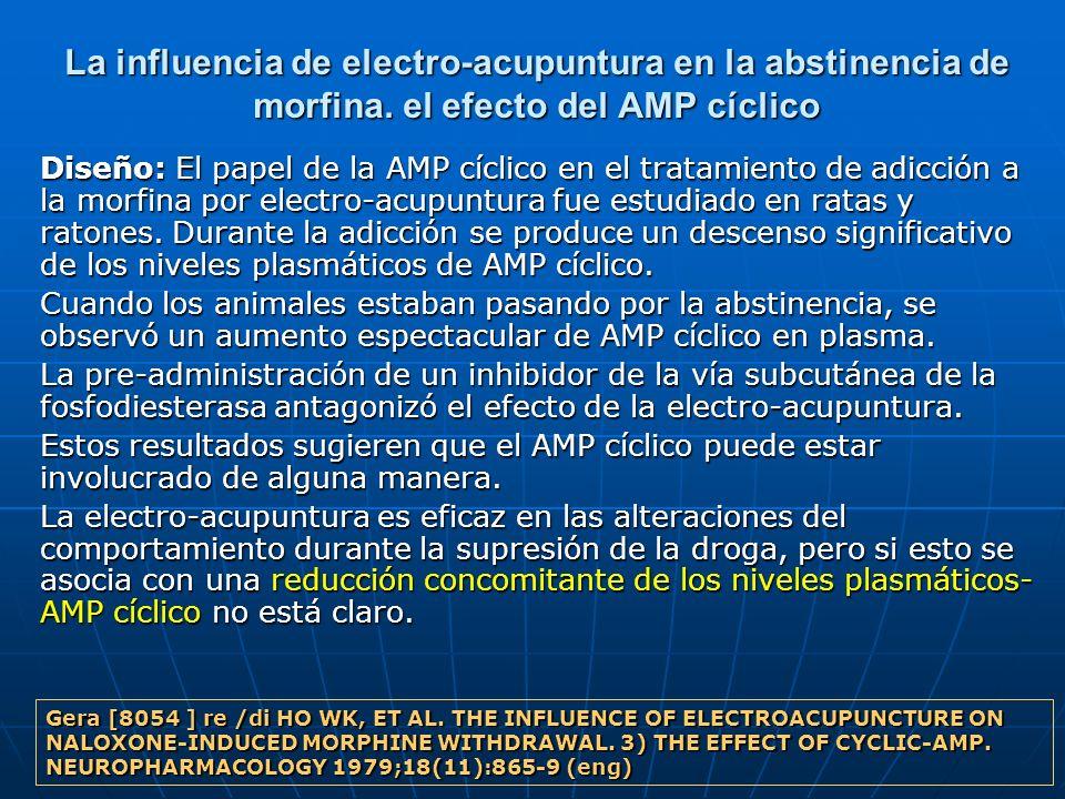La influencia de electro-acupuntura en la abstinencia de morfina. el efecto del AMP cíclico Diseño: El papel de la AMP cíclico en el tratamiento de ad