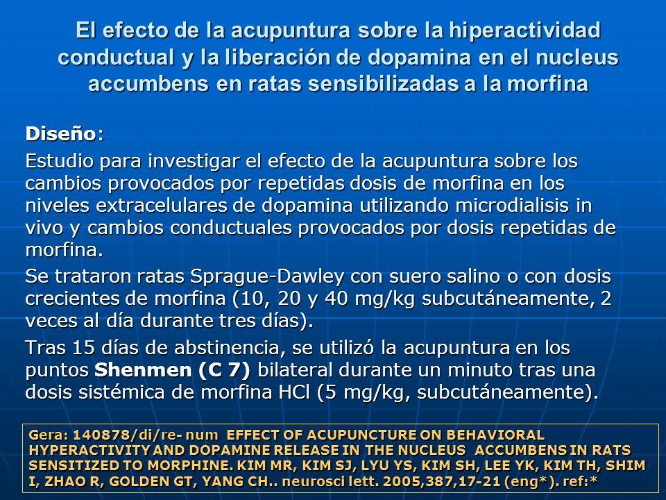 El efecto de la acupuntura sobre la hiperactividad conductual y la liberación de dopamina en el nucleus accumbens en ratas sensibilizadas a la morfina