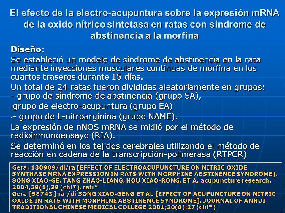 El efecto de la electro-acupuntura sobre la expresión mRNA de la oxido nítrico sintetasa en ratas con síndrome de abstinencia a la morfina Diseño: Se