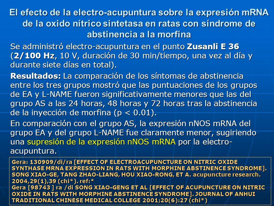 El efecto de la electro-acupuntura sobre la expresión mRNA de la oxido nítrico sintetasa en ratas con síndrome de abstinencia a la morfina Se administ