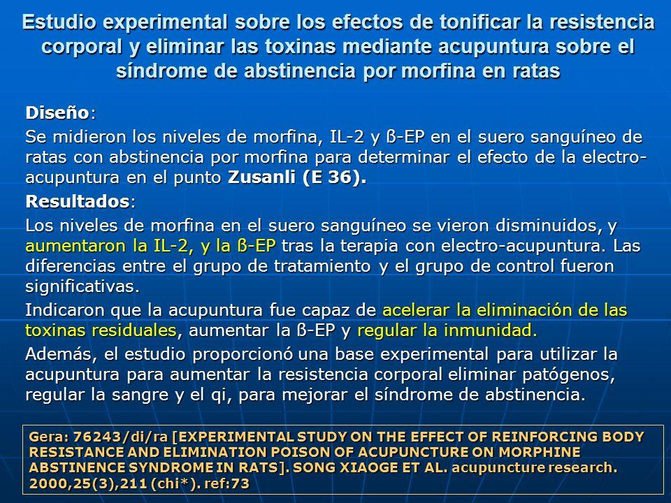 Estudio experimental sobre los efectos de tonificar la resistencia corporal y eliminar las toxinas mediante acupuntura sobre el síndrome de abstinenci