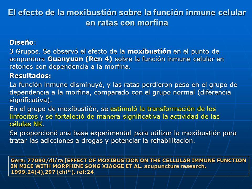 El efecto de la moxibustión sobre la función inmune celular en ratas con morfina Diseño: 3 Grupos. Se observó el efecto de la moxibustión en el punto
