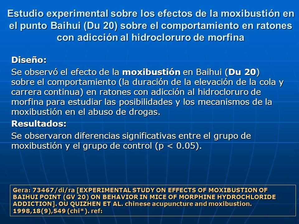 Estudio experimental sobre los efectos de la moxibustión en el punto Baihui (Du 20) sobre el comportamiento en ratones con adicción al hidrocloruro de