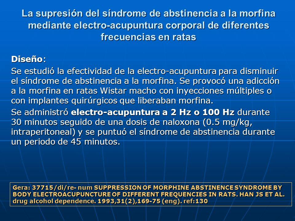 La supresión del síndrome de abstinencia a la morfina mediante electro-acupuntura corporal de diferentes frecuencias en ratas Diseño: Se estudió la ef