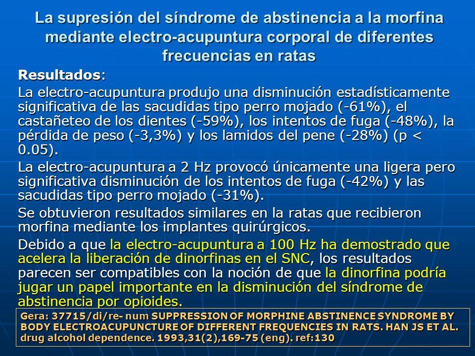 La supresión del síndrome de abstinencia a la morfina mediante electro-acupuntura corporal de diferentes frecuencias en ratas Resultados: La electro-a