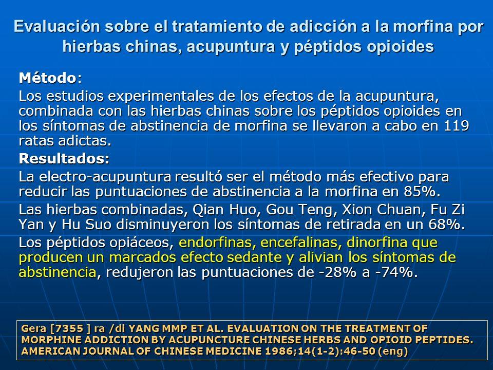 Evaluación sobre el tratamiento de adicción a la morfina por hierbas chinas, acupuntura y péptidos opioides Método: Los estudios experimentales de los