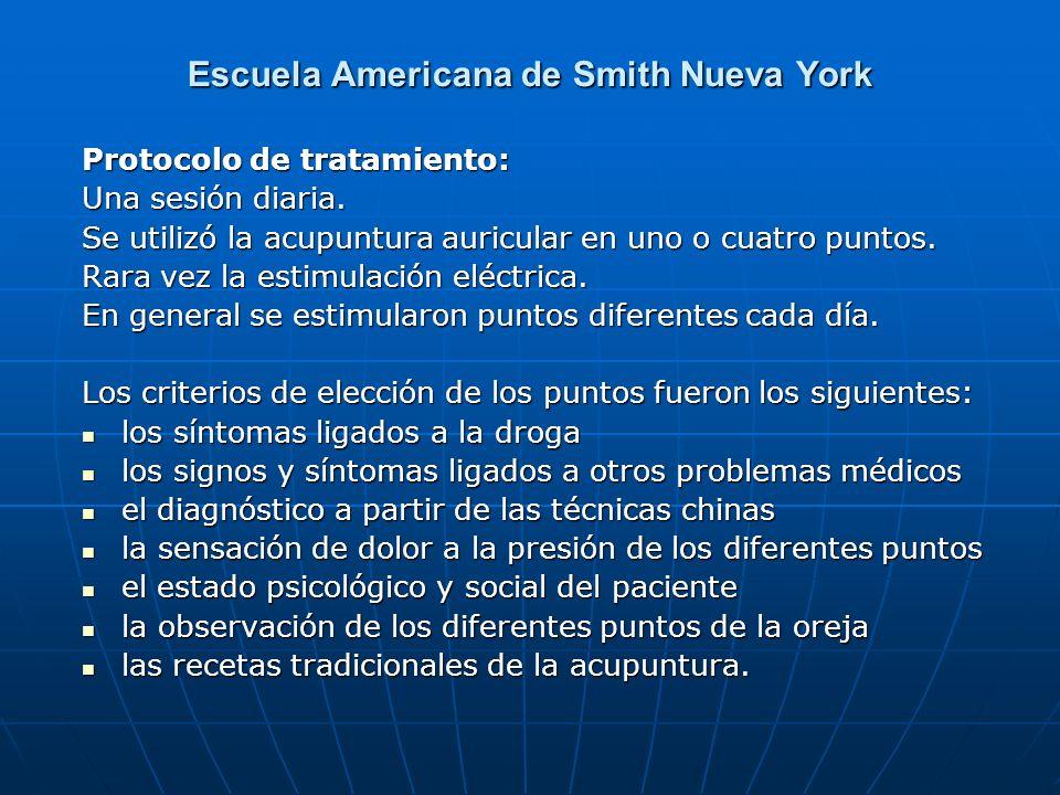 Escuela Americana de Smith Nueva York Protocolo de tratamiento: Una sesión diaria. Una sesión diaria. Se utilizó la acupuntura auricular en uno o cuat