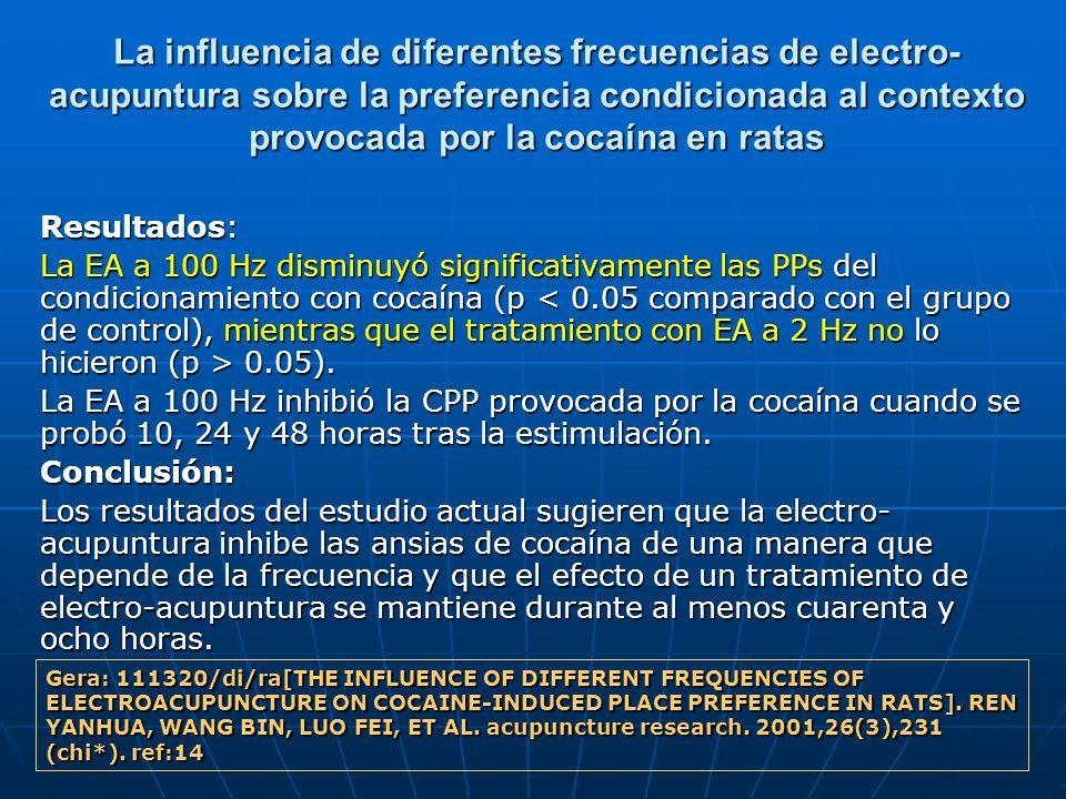 La influencia de diferentes frecuencias de electro- acupuntura sobre la preferencia condicionada al contexto provocada por la cocaína en ratas Resulta